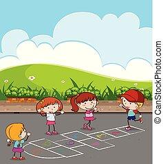 Kids Playing Hopscotch at Park