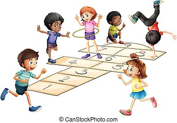 Kids playing hopscotch in the field