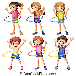 Kids playing hulahoop - Illustration of the kids playing...