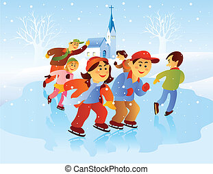 Kids Playing Ice Skating - cartoon illustration of kids...