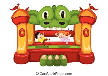 Kids Playing in a Bouncy House - A vector illustration of...