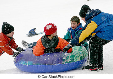 Kids Playing in a Snow Storm