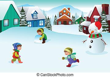 Kids playing in a winter wonderland