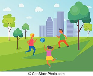 Kids Playing in City Park, Children with Ball