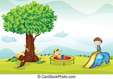 kids playing in nature - illustrtion of kids playing in...