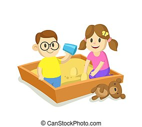 Kids playing in sandbox. Cartoon flat vector illustration, isolated on white background.