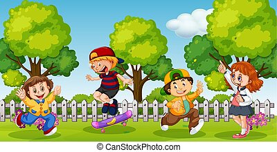 Kids playing in school compound park illustration