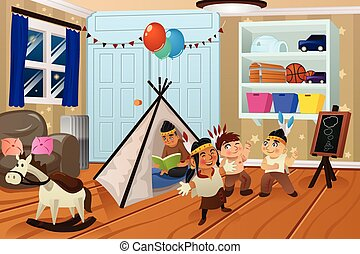 Kids Playing in the Bedroom - A vector illustration of kids...