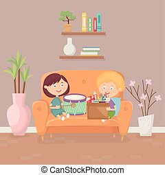 kids playing in the living room sofa with toys