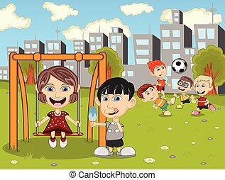 Kids playing in the park cartoon