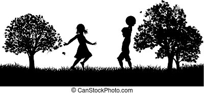 Kids Playing in the Park Silhouette