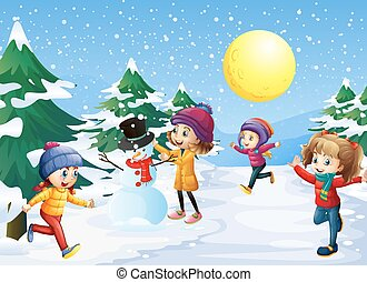 Kids playing in the snow on christmas