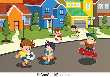 A vector illustration of happy kids playing in the street of a suburban neighborhood