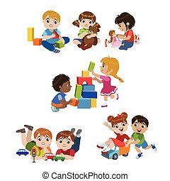 Kids Playing Indoors Set Of Colorful Simple Design Vector ...