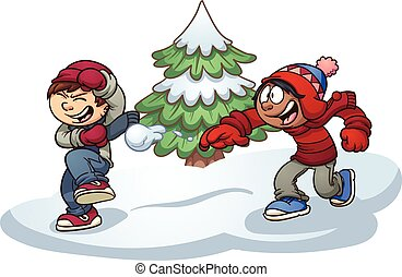 Kids playing - Kids throwing snowballs. Vector clip art ...