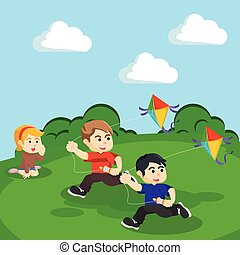 kids playing kite at the hill