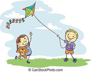 Kids Playing Kite on Field