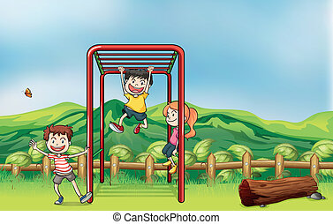 Kids playing monkey bar and a dry wood