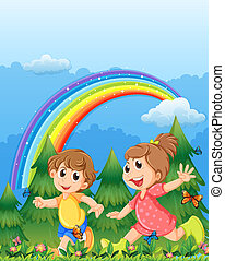 Kids playing near the garden with a rainbow in the sky