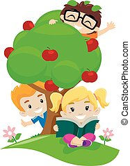 Kids playing on apple tree