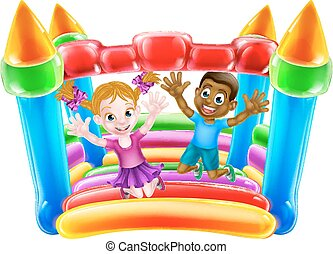 Kids Playing on Bouncy Castle - Cartoon kids Jumping on a...