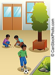Kids Playing Outdoors Illustration