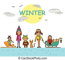 Kids playing outdoors in winter isolated on white background. Vector illustration