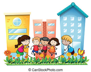 Kids playing outside the building - Illustration of the kids...