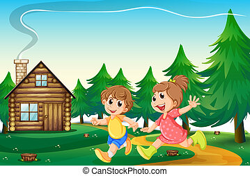 Kids playing outside the wooden house at the hilltop - ...