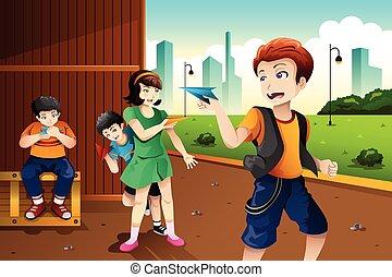 Kids playing paper plane