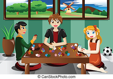 Kids playing puzzles