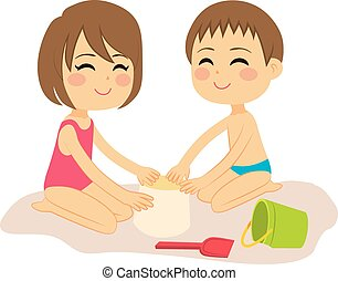 Kids Playing Sand