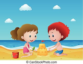 Kids playing sand on the beach