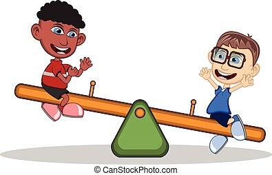 Kids playing see saw cartoon - full color