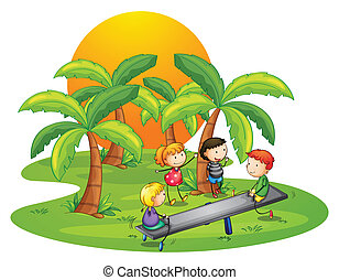 Kids playing seesaw near the coconut trees - Illustration of...