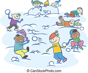 kids playing snowballs isolated - vector group of happy kids...