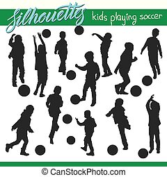 Kids playing soccer football vector silhouettes