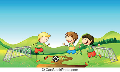 Kids playing soccer - Illustration of kids playing soccer