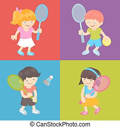 Kids playing tennis - Boy and girl kids with sport equipment...