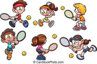 Kids playing tennis
