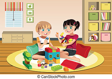 Kids playing toys - A vector illustration of happy kids ...