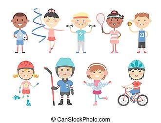 Kids playing various sports games such us hockey, football, gymnastics, fitness, tennis, basketball, roller skating, bike flat vector.
