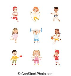 Kids Playing Various Sports Set, Boys and Girls Playing Basketball, Baseball, Skating, Jumping with Rope, Lifting Barbell, Active Healthy Lifestyle Cartoon Vector Illustration