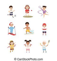 Kids Playing Various Sports Set, Boys and Girls Skiing, Surfboarding, Running, Playing Tennis, Soccer, Active Healthy Lifestyle Concept Cartoon Style Vector Illustration