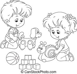 Kids playing - Little girl and boy playing with their toys