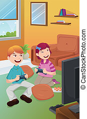 Kids playing video games at home