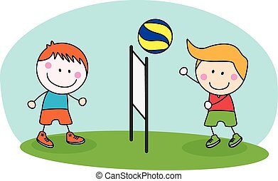 kids playing volley ball