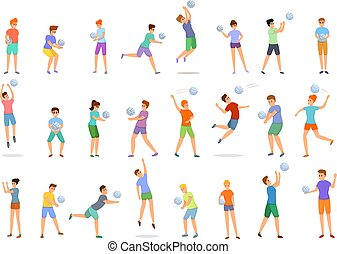 Kids playing volleyball icons set, cartoon style