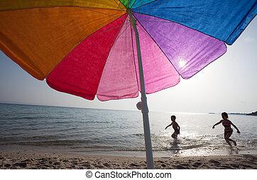 Kids Playing Water Sea