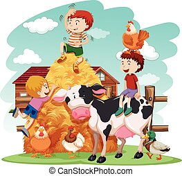 Kids playing with farm animals in field